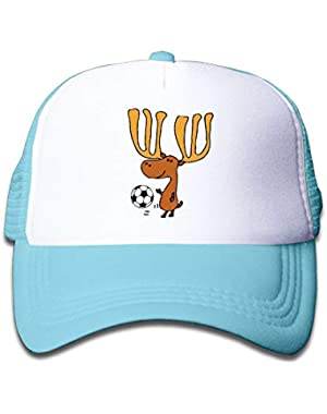 Moose Playing Soccer On Kids Trucker Hat, Youth Toddler Mesh Hats Baseball Cap