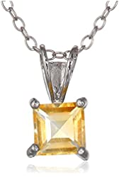 """Sterling Silver 6mm Square-Cut Gemstone Pendant Necklace, 18"""""""