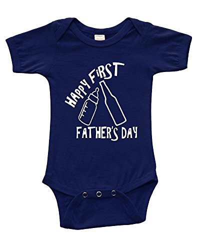 Short Sleeve Onesie w/Happy First Father's Day(Cheers Bottles), Navy Blue, 6-12m