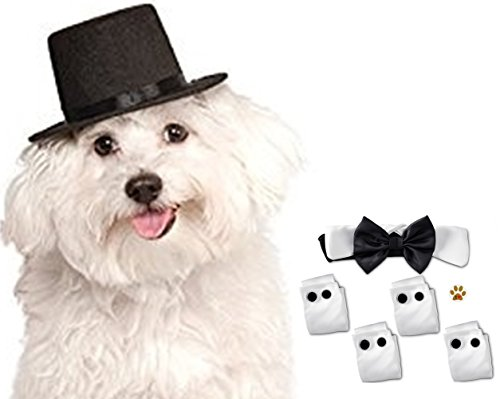 Butler Costume For Cat (Dress up Black Satin Bow Tie Tux Collar with Cuffs and Hat set with Button Pin - Available in dog Sizes S/M thru L/XL (L/XL fits neck 15
