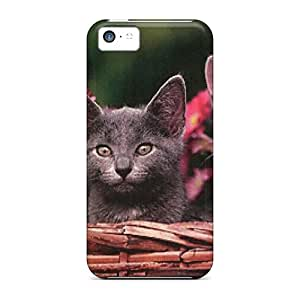 New Snap-on Eriklcoeman Skin Case Cover Compatible With Iphone 5c- Two Kittens In A Flower Basket