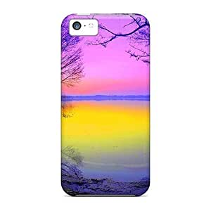 MMZ DIY PHONE CASEiphone 5c Case Cover - Slim Fit Tpu Protector Shock Absorbent Case (incredible Pink Sunrise)