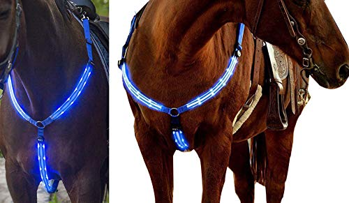 NEFTF LED Horse Breastplate Collar Bridle Halter High Visibility Tack for Night Horse Riding ()