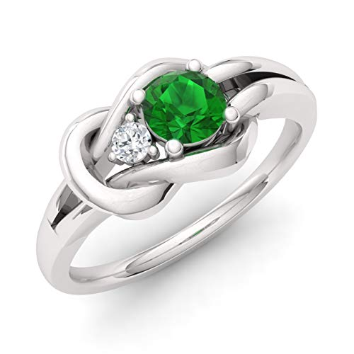 Diamondere Natural and Certified Emerald and Diamond Engagement Ring in 14K White Gold | 0.25 Carat Infinity Knot Ring Size 6 ()