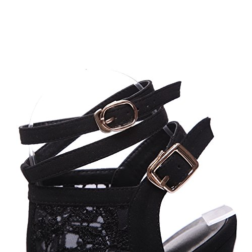 AdeeSu Womens Hollow Out Metal Buckles Spikes Stilettos Microfiber Sandals SLC03254 Black Ok9pn