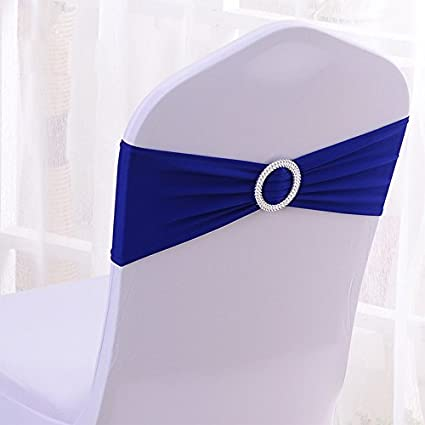 50PCS Stretch Wedding Chair Bands With Buckle Slider Sashes Bow Decorations 22 Colors (Royal Blue & Amazon.com: 50PCS Stretch Wedding Chair Bands With Buckle Slider ...