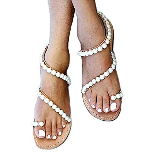 - Women's Summer Sparkle Bohemian Rhinestone Toe Ring Beach Slippers Flat Sandals Size 7.5 Orange