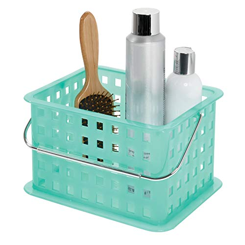 (InterDesign Spa Plastic Storage Organizer Basket with Handle for Bathroom, Health, Cosmetics, Hair Supplies and Beauty Products, 9.25