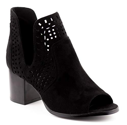 CALICO KIKI AVERY-CK02 Peep Toe Ankle Booties Fashion Cut Out (6 US Black ()