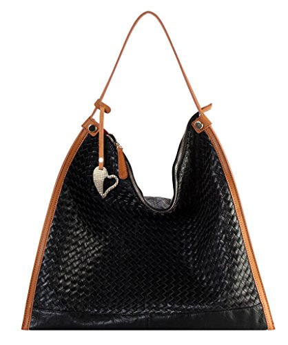 Accented Large Hobo Handbag - Diophy PU Leather Woven Pattern Large Hobo Accented with Heart Shape Décor Handbag JK-6398