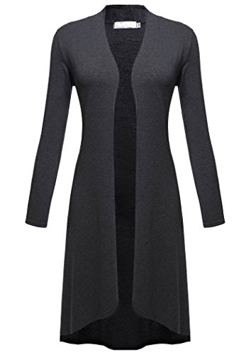 Qearl Women's Long Sleeve Open Front Draped Long Duster Cardigan Coat (L, Dark Gray)