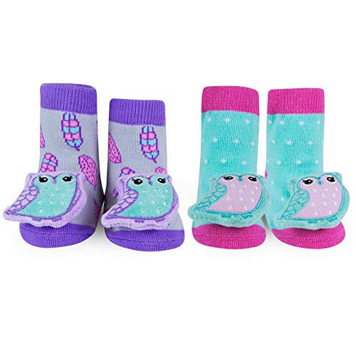 (WADDLE Cute Girls Gift Owl Animal Plush Rattle Socks Newborn Picture Prop Purple 0-12 Months)
