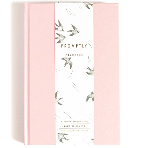 Promptly Journals - Childhood History Journal (Blush Pink) - Keepsake Baby Book, Records Every Stage of Life, Pregnancy Thru Age 18, Elegant Minimalist Design
