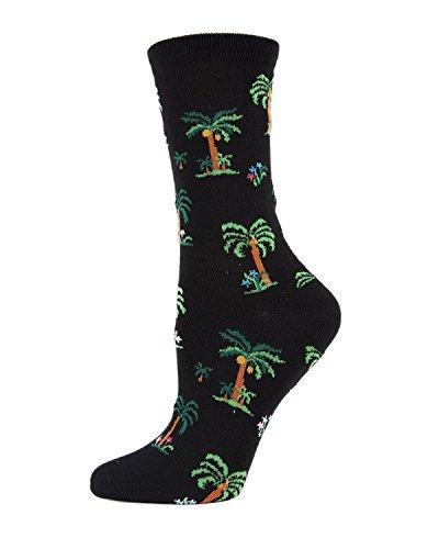 (MeMoi Palm Tree Paradise Crew Socks | Cute Novelty Socks Black MWN00123 One Size)