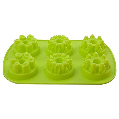 Mirenlife 6 Cavity Silicone Mini Fancy Bundt Savarin Cake Pan, Donut, Muffin, Cupcake, Brownie and Cornbread Mold -
