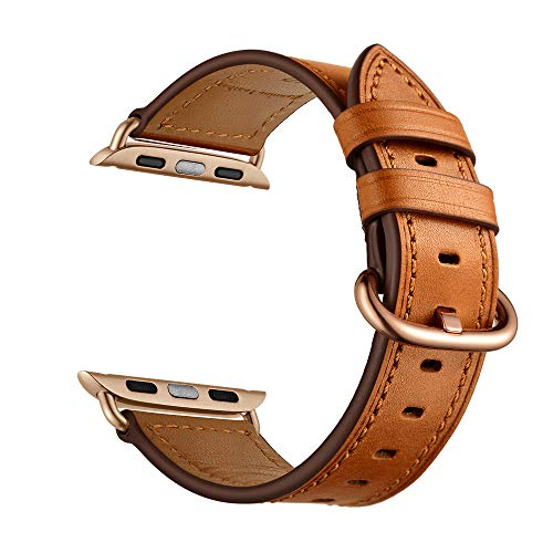 CINORS Leather Band Compatible with Apple iWatch 40mm Women Genuine Leather Brown Bands Wrist Strap with Rose Gold Buckle for Apple Watch Series 4 (Brown Leather Rose Gold - Leather Gold Brown Band