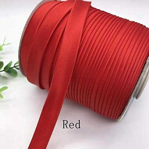- 15mm Width Satin Edge Strip Cloth Cheongsam Clothes Color Brocade Ribbon DIY (Color - Red)