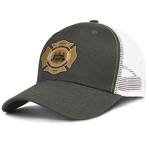 (DXQIANG Philadelphia Fire Department Unisex Funny Mesh Back Cap Lightweight Adjustable Sun)