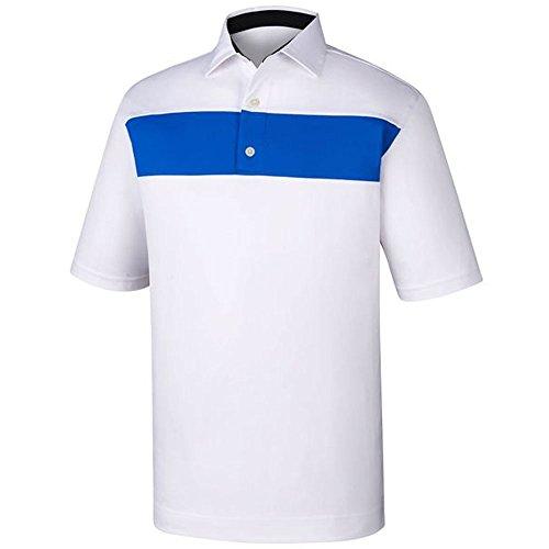 (FootJoy Men's Smooth Pique Pieced Stripe Golf Polo (M, White/Cobalt))