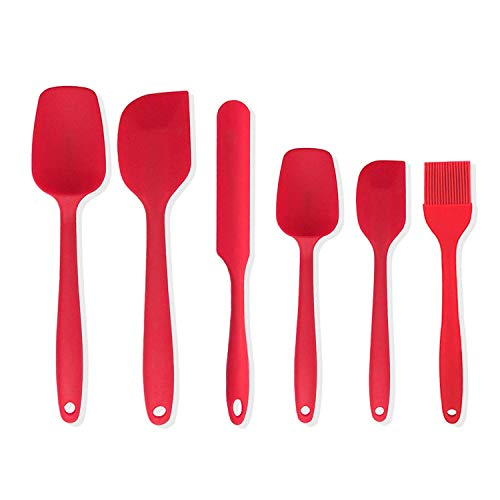 Uookki Silicone 6 Piece Non-Stick & Heat-Resistant Rubber Spatula Set with Strong Stainless Steel Core, for Cooking, Baking and Mixing, Red