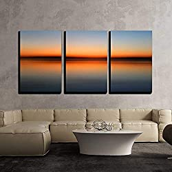 "wall26 - 3 Piece Canvas Wall Art - Abstract Colorful Motion Blurred Sunset on Sea - Modern Home Decor Stretched and Framed Ready to Hang - 16""x24""x3 Panels"