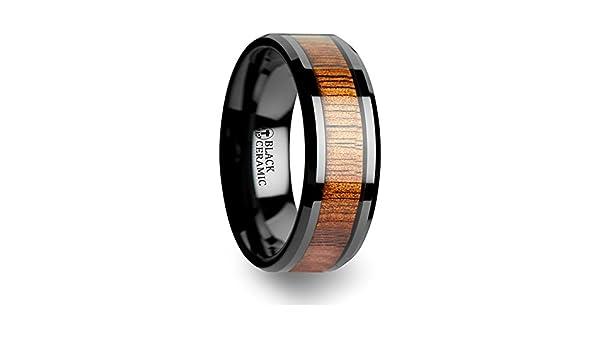 Thorsten Acacia Black Ceramic Ring with Genuine Hawaii Koa Wood Inlay Beveled Edges 10mm Width from Roy Rose Jewelry