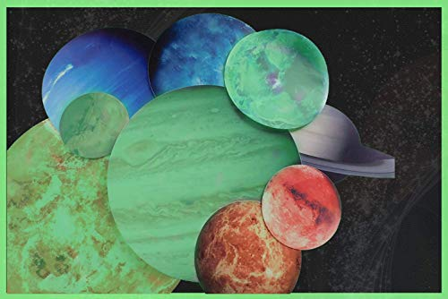 Glow in The Dark Planet Stickers - Outer Space Bedroom Decorations for Boys or Girls Rooms - Solar System Planet Wall Decals - 9 Colorful Planet Stickers Great for Kids Room [+ Free eBook]