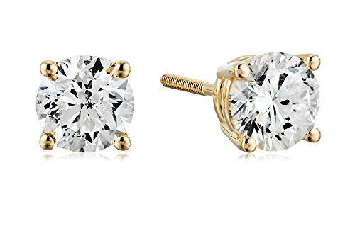 (Certified 14k Yellow Gold Diamond with Screw Back and Post Stud Earrings (1cttw, J-K Color, I1-I2 Clarity))