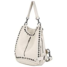 UTO Women Backpack Purse PU Washed Leather Rivet Studded Convertible Ladies Rucksack Shoulder Bag White