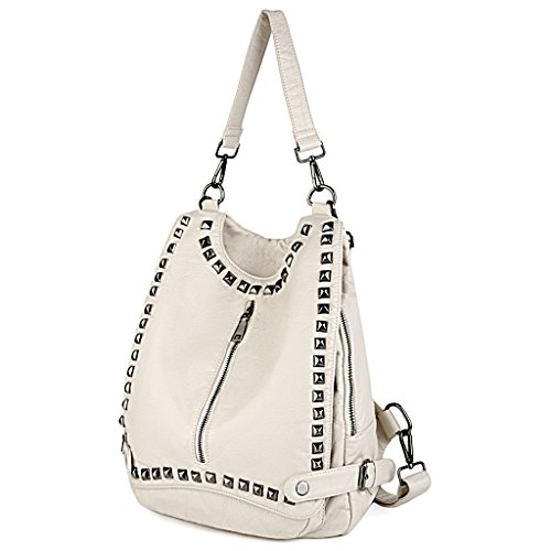 UTO Women Backpack Purse PU Washed Leather Rivet Studded Convertible Ladies Rucksack Shoulder Bag Cream by UTO