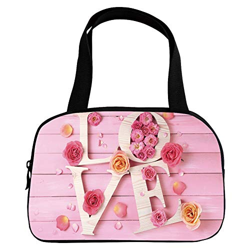 - Multiple Picture Printing Small Handbag Pink,Light Pink,Wooden Love Letters on Rustic Wooden Background Floral Romance Valentines Theme Decorative,Cream Peach,for Girls,Comfortable Design.6.3