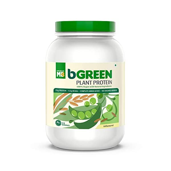 bGREEN by MuscleBlaze 100% VEGAN Plant Protein Powder, 25 g Pure Plant Protein, Unflavoured,1 KG 33 Servings Complete… 2021 July PLANT BASED NUTRITION: A 100% plant-based protein powder - a blend of pea and brown rice protein with a complete amino acid profile. This herbal 100% vegan protein powder is free from any artificial preservatives, heavy metals, and added sugar. FOR MUSCLE GROWTH AND RECOVERY: This vegan plant protein is ideal as a post-workout supplement as it helps with muscle growth & recovery. It offers 25g pure, clean plant protein per serving & 4.6g BCAAs to support muscle growth and recovery. BETTER DIGESTION & ABSORPTION: It is enriched with plant-based enzymes Papain and Bromelain to boost absorption & digestion.