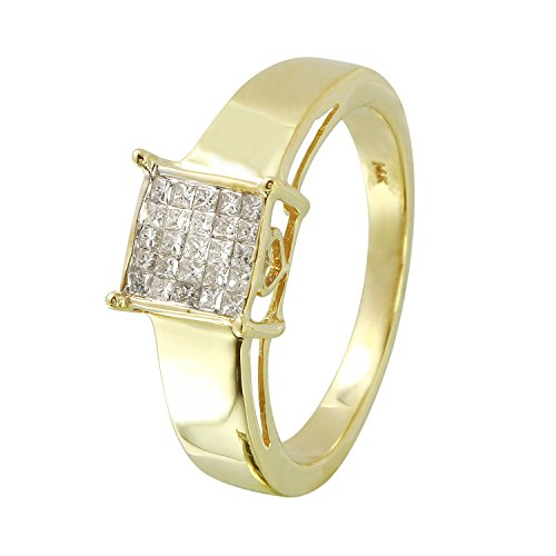 - 0.25 Carat Natural Diamond 14K Yellow Gold Engagement Ring for Women Size 7