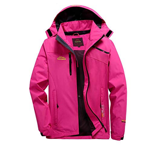 Realdo Couple Outdoor Jacket, Mens Womens Thin Thick Hoodie Waterproof Breathable Assault Coat(Large,Hot Pink4)