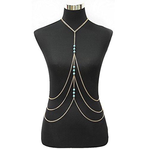 JoJo&Lin Gold Tone Fine Chain Harness with Turquoise Beads Multirow Necklace Body Chain Bikini