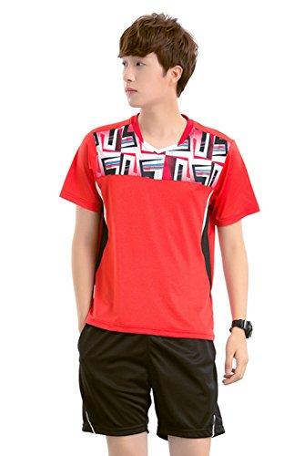 BOZEVON Round Neck Short Sleeve Training T-Shirt Workout Fitness Clothes Sportswear 2 PCS, Red-Man, US L = Tag (Redman Training)