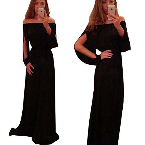 NEW Femme Noir Off épaule Maxi robe robe de soirée usure Plus Taille UK 8–10EU 36–38