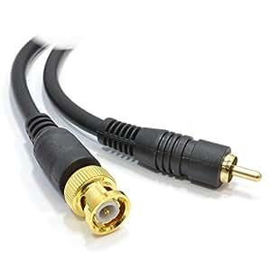 Puro Cobre CCTV BNC A Fono Clavija Cable Oro Conectores 3 m