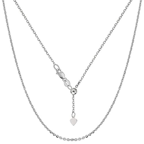 Gold Adjustable Cable Chain - 10k White Gold Adjustable Cable Link Chain Necklace, 0.9mm, 22
