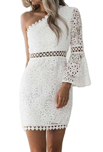 one sleeve white dresses for juniors - 4