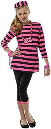Girls Miss Dee Meaner Prisoner Costume - Large