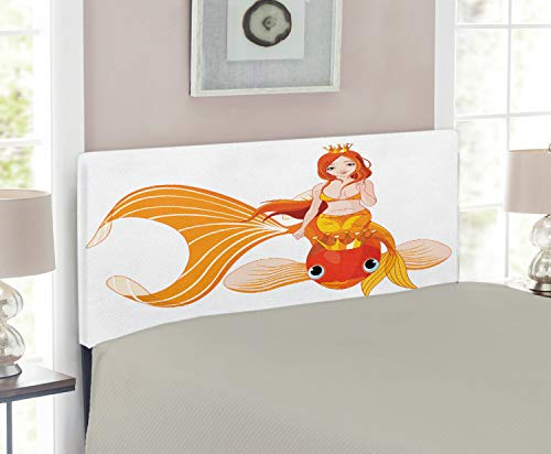 (Ambesonne Underwater Headboard, Princess Mermaid Riding on Goldfish Swimming Animals Happy, Upholstered Decorative Metal Headboard with Memory Foam, for Twin Size Bed, Orange Marigold White)