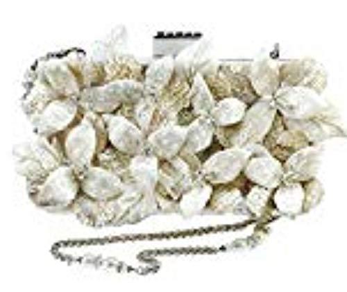- Mary Frances Heavenly Embellished 3D Floral Bridal Handbag, Off- Off-White