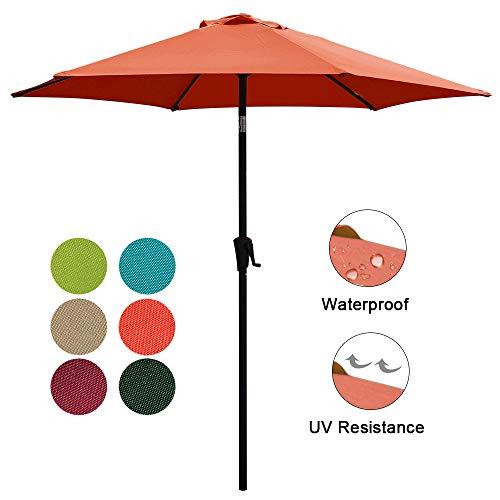COBANA 7.5Ft Patio Garden Outdoor Market Umbrella with Tilt and Crank Orange