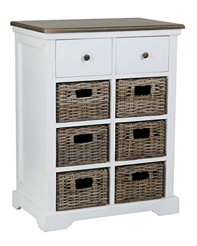 Rattan Table Mahogany (East at Main VV-DF-SN307-WH Fran Cabinet, White)