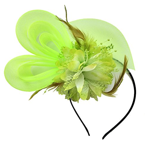 [Women's Fascinators Hat Small Hairpin Feather Mesh Flower Hairclip (Light Green)] (Ethnic Hats)