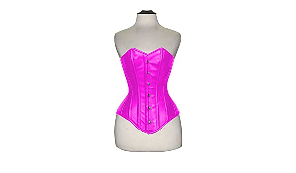 e63b6d6c926 Overbust Authentic Corset Long Hip-Line Steel Boned Tight Lacing Leather  P99S (Pink