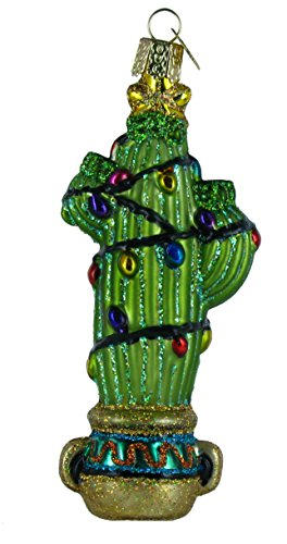 Old World Christmas Ornaments: Christmas Cactus Glass Blown Ornaments for Christmas Tree -