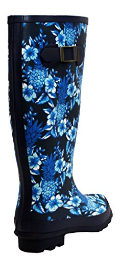 Girls Festival Womens 8 Ladies Sizes Floral Mud Waterproof Rain Wellies UK Snow Boots Blue Wellington 3 Rubber qHFW0U