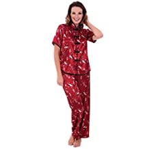Del Rossa Women's Satin Pajamas, Chinese Inspired Pj Set